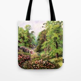 """Camille Pissarro """"Kew Gardens, Alley of Rhododendrons"""" Tote Bag"""