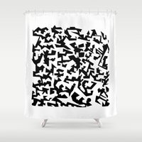 soccer Shower Curtains featuring Play soccer by Manonut
