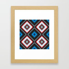Colorful patchwork mosaic oriental kilim rug with traditional folk geometric ornament. Tribal style Framed Art Print