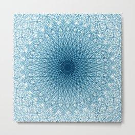 Stroked Quantum Mandala Blue 1 Metal Print