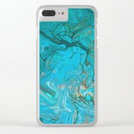 Fluid Nature - Malachite Flows - Acrylic Pour Art Clear iPhone Case