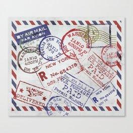 Vintage Postage Stamps grunge Design Canvas Print
