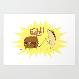 Food Fight ! Art Print