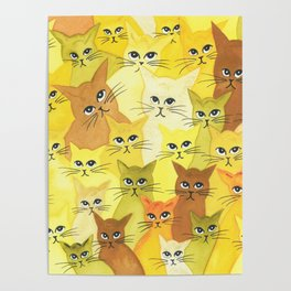 Golden Whimsical Cats Poster