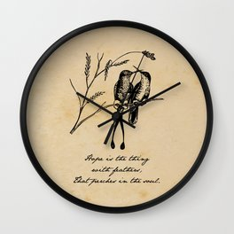 Emily Dickinson - Hope is the Thing with Feathers Wall Clock