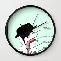 tom waits Wall Clocks featuring VISIBLE TOM WAITS by Jim Lockey