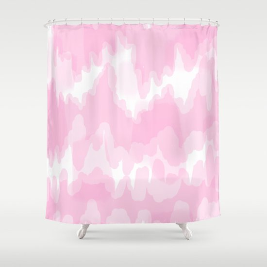 blossom blush pink abstract art shower curtain by