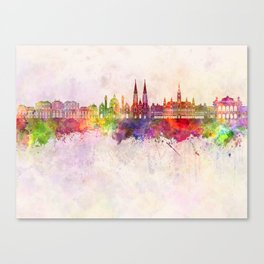 Vienna V2 skyline in watercolor background Canvas Print
