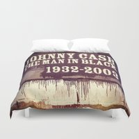 johnny cash Duvet Covers featuring Johnny Cash by Dan99