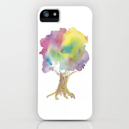 Dreaming tree - watercolor and ink whimsical illustration iPhone Case