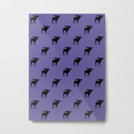 Bull Moose Silhouette - Black on Ultra Violet Metal Print