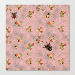 Spiders, webs, and roses Canvas Print