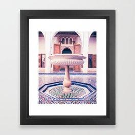 Tiled Moroccan Fountain in a Courtyard Fine Art Print Framed Art Print