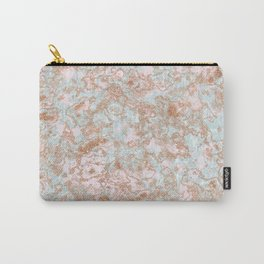Mint Blush & Rose Gold Metallic Marble Texture Carry-All Pouch