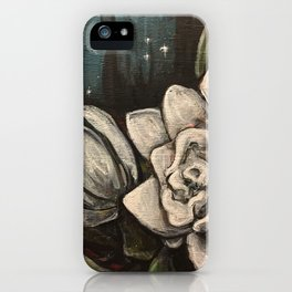 Night Bloom // Gardenia White Flower Stars Magnolia Abstract Painting Southern Garden Tree Plants iPhone Case
