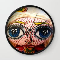 supergirl Wall Clocks featuring Supergirl by Chiara Venice Art Dolls