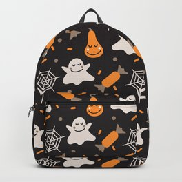Happy hallowen ghosts, web, pumkins and sweets pattern Backpack
