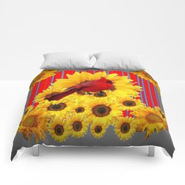 YELLOW SUNFLOWERS RED CARDINAL GREY  ART Comforters