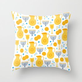 Hanukkah Traditions Pattern Throw Pillow
