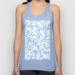 Spots - White and Baby Blue Unisex Tank Top