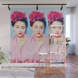 Tres Fridas in Pink Wall Mural