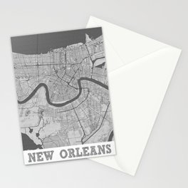 New Orleans Pencil City Map Stationery Cards