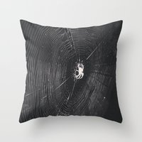 spider Throw Pillows featuring Spider by LadyJennD