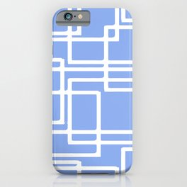Retro Modern Rectangles On Summer Sky Blue iPhone Case