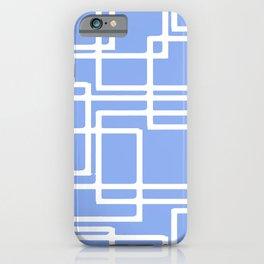 Retro Modern Rectangles On Summer Sky Blue iPhone Case