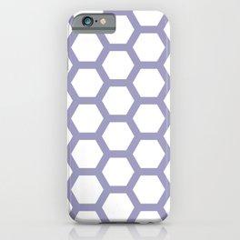 White on Purple Honeycomb Pattern iPhone Case