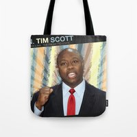 tim shumate Tote Bags featuring Tim Scott by politics