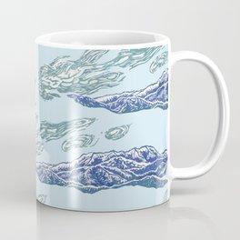Mt. Craiului-Distant Snow- 遠雪 : linocut Coffee Mug
