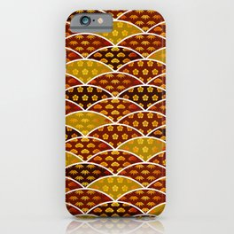 Japanese traditionally auspicious pattern red & gold iPhone Case
