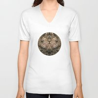 antique V-neck T-shirts featuring Antique Lace by Klara Acel