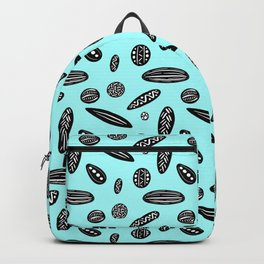 Many Autumn Plant Seeds Pattern in Light Blue Backpack