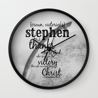 stephen king Wall Clocks featuring Stephen by KimberosePhotography