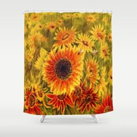 sunflowers Shower Curtains featuring SUNFLOWERS by VargaMari