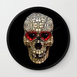 Skull Art - Day Of The Dead 3 Stone Rock'd Wall Clock