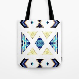 Geometric Rug in Gold, Black and Blue Tote Bag