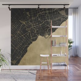 Toronto Gold and Black Street Map Wall Mural