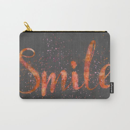 Smile motivating handlettering watercolor style Carry-All Pouch