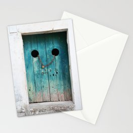 TEAL WOODEN DOOR WITH GRAY CHAIN AND BROWN PADLOCK Stationery Cards