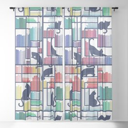 Rainbow bookshelf // white background navy blue shelf and library cats Sheer Curtain