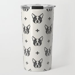 Boston Terrier Dog Face Pattern Travel Mug