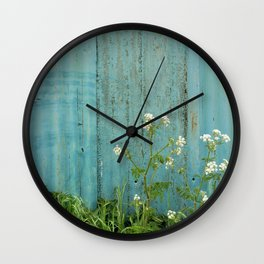 natural wild flowers floral outdoors blue metal fence texture Wall Clock