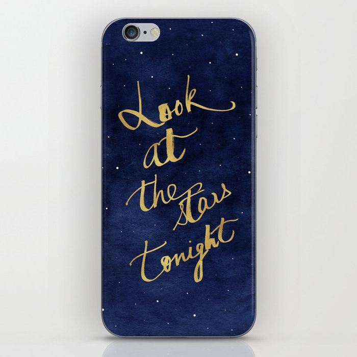 Starry Night Sky Art, Celestial Astronomy Stars Quote Art Print Poster, Celestial Nursery Decor iPhone Skin