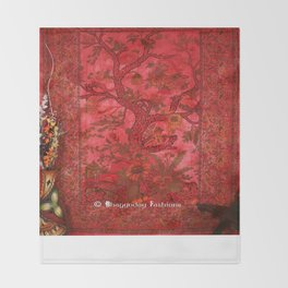 Tie and Dye Hippie Tree of Life Tapestry in Red Color Throw Blanket