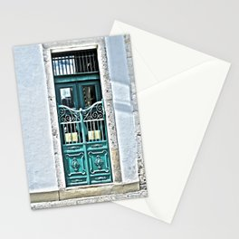Teal Iron Gate and Door  Stationery Cards