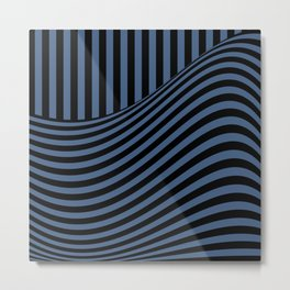 Blue , black , striped Metal Print