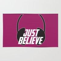 headphones Area & Throw Rugs featuring Believe (Headphones) by LILCDESIGNS